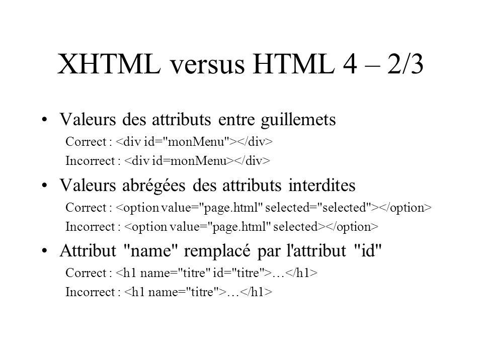 XHTML versus HTML 4 – 2/3 Valeurs des attributs entre guillemets Correct : Incorrect : Valeurs abrégées des attributs interdites Correct : Incorrect : Attribut name remplacé par l attribut id Correct : … Incorrect : …