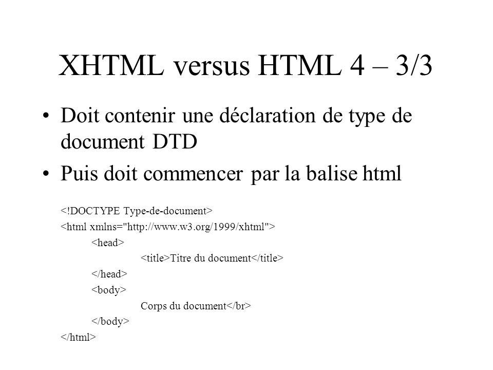 XHTML versus HTML 4 – 3/3 Doit contenir une déclaration de type de document DTD Puis doit commencer par la balise html Titre du document Corps du document
