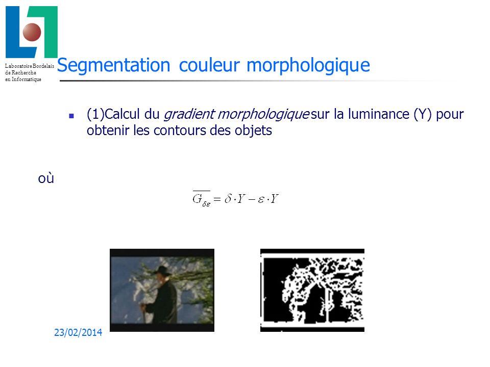 Laboratoire Bordelais de Recherche en Informatique 23/02/2014 Segmentation couleur morphologique (1)Calcul du gradient morphologique sur la luminance (Y) pour obtenir les contours des objets où