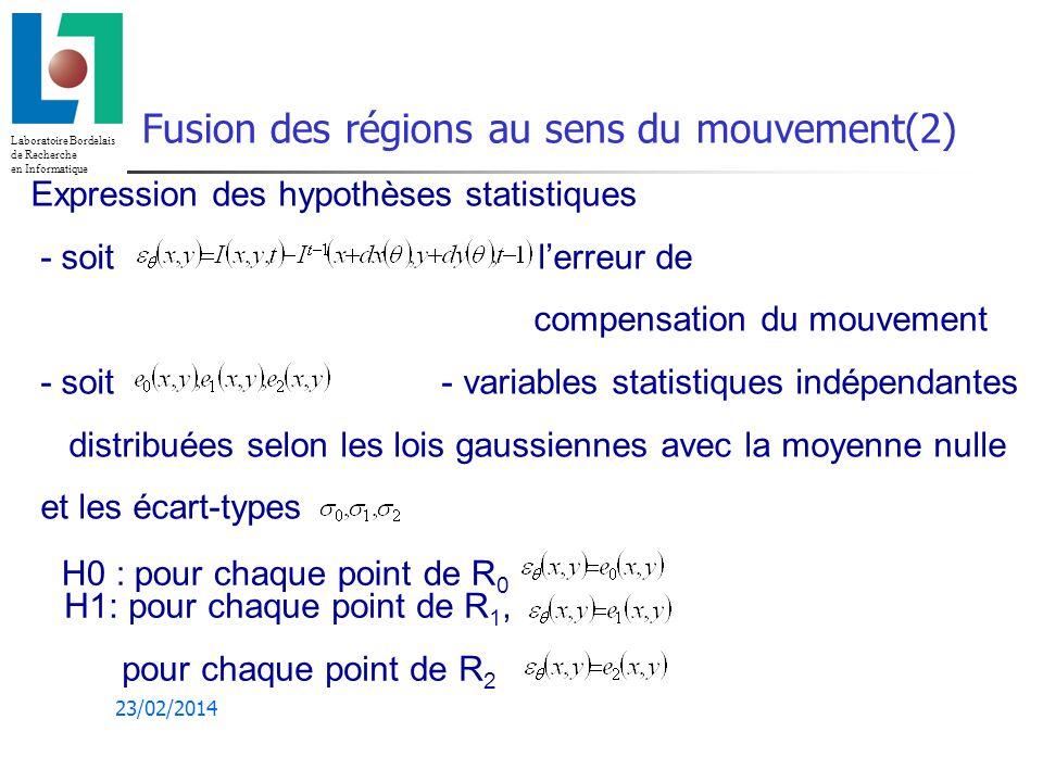 Laboratoire Bordelais de Recherche en Informatique 23/02/2014 Fusion des régions au sens du mouvement(2) Expression des hypothèses statistiques - soit lerreur de compensation du mouvement - soit - variables statistiques indépendantes distribuées selon les lois gaussiennes avec la moyenne nulle et les écart-types H0 : pour chaque point de R 0 H1: pour chaque point de R 1, pour chaque point de R 2