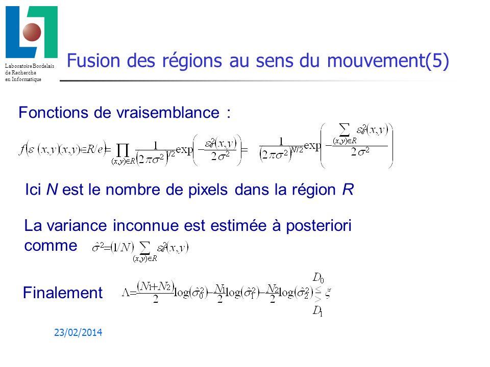 Laboratoire Bordelais de Recherche en Informatique 23/02/2014 Fusion des régions au sens du mouvement(5) Fonctions de vraisemblance : Ici N est le nombre de pixels dans la région R La variance inconnue est estimée à posteriori comme Finalement