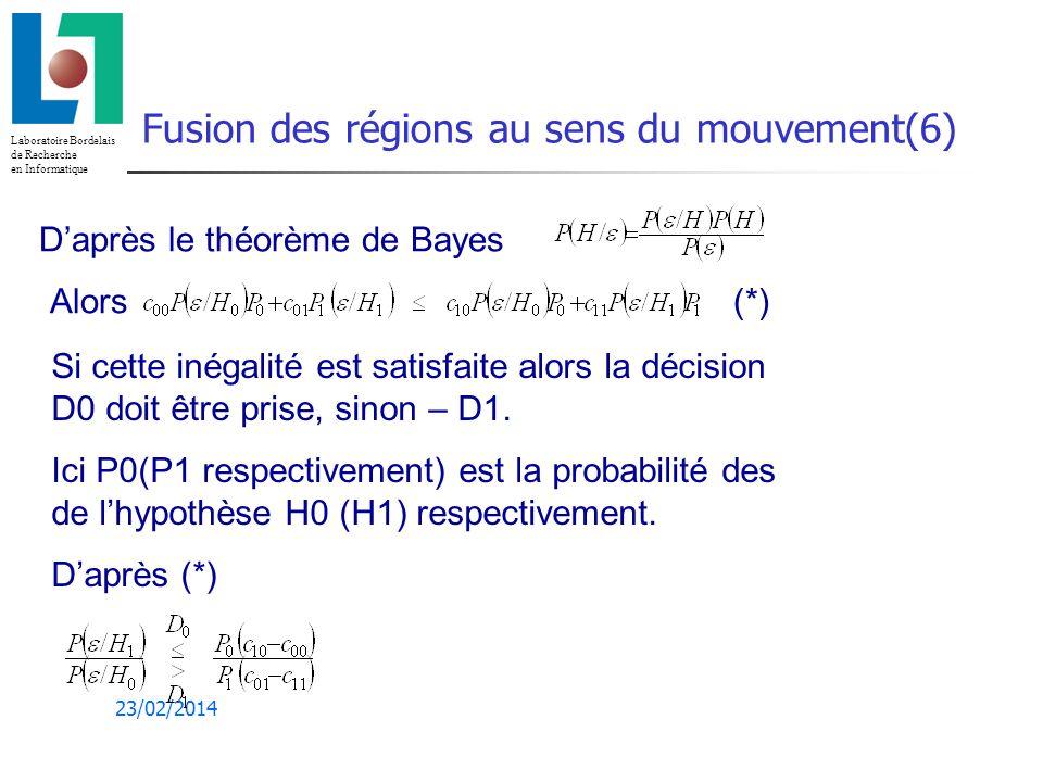 Laboratoire Bordelais de Recherche en Informatique 23/02/2014 Fusion des régions au sens du mouvement(6) Daprès le théorème de Bayes Alors (*) Si cette inégalité est satisfaite alors la décision D0 doit être prise, sinon – D1.