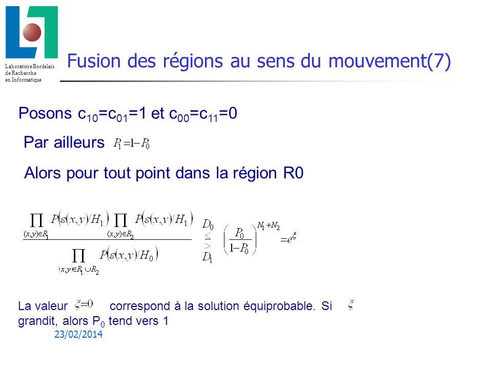 Laboratoire Bordelais de Recherche en Informatique 23/02/2014 Fusion des régions au sens du mouvement(7) Posons c 10 =c 01 =1 et c 00 =c 11 =0 Par ailleurs Alors pour tout point dans la région R0 La valeur correspond à la solution équiprobable.