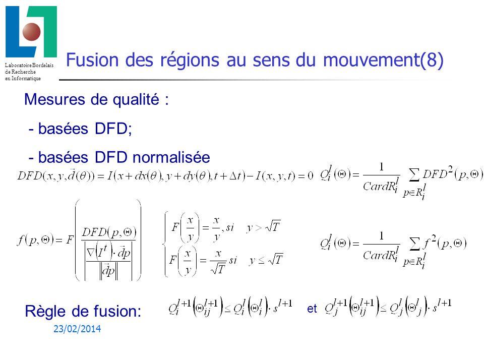 Laboratoire Bordelais de Recherche en Informatique 23/02/2014 Fusion des régions au sens du mouvement(8) Mesures de qualité : - basées DFD; - basées DFD normalisée et Règle de fusion: