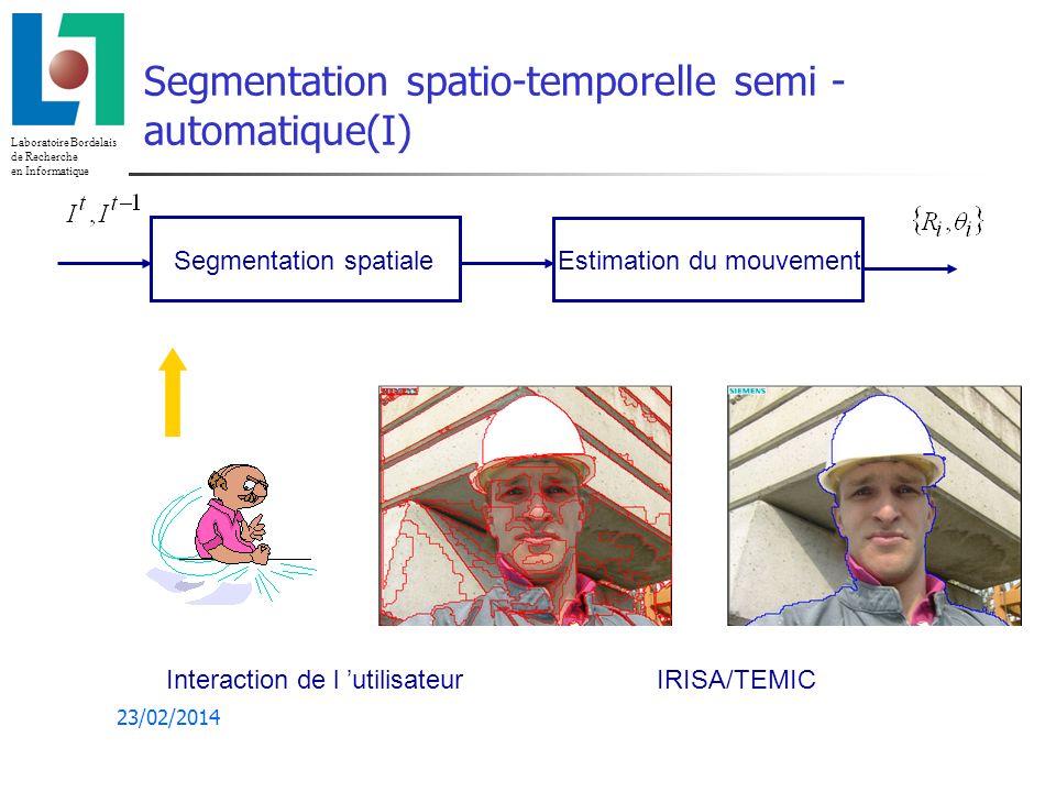Laboratoire Bordelais de Recherche en Informatique 23/02/2014 Segmentation spatio-temporelle semi - automatique(I) Interaction de l utilisateur Segmentation spatialeEstimation du mouvement IRISA/TEMIC
