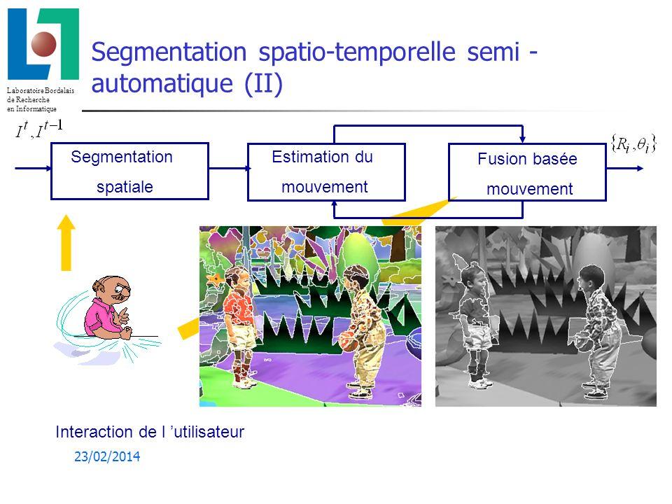 Laboratoire Bordelais de Recherche en Informatique 23/02/2014 Estimation du mouvement Modèles : affines du 1er ordre (6 ou 4 paramètres) R t t =(tx,ty,,k) T t =(a0,b0,a b a b ) T Méthodes d estimation : - différentielles (1er, 2nd ordre) - estimation du flot optique + estimation paramétrique au sens des MC