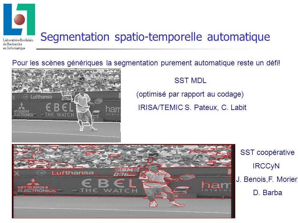 Laboratoire Bordelais de Recherche en Informatique 23/02/2014 Utilisation correcte de la profondeur Suivi des segmentations spatio-temporelles (II)