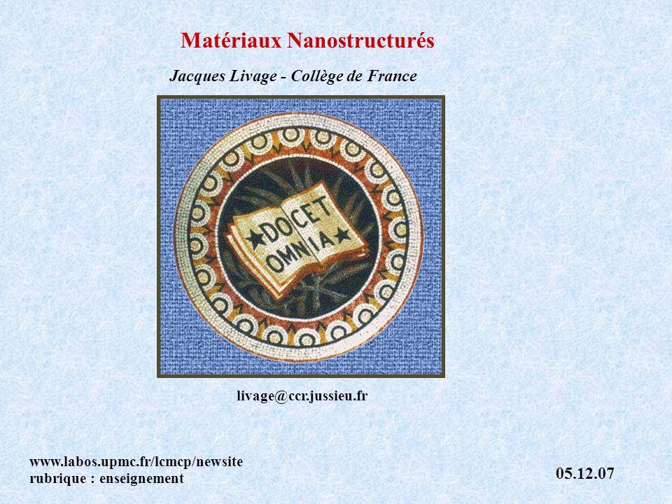 Matériaux Nanostructurés Jacques Livage - Collège de France www.labos.upmc.fr/lcmcp/newsite rubrique : enseignement 05.12.07 livage@ccr.jussieu.fr