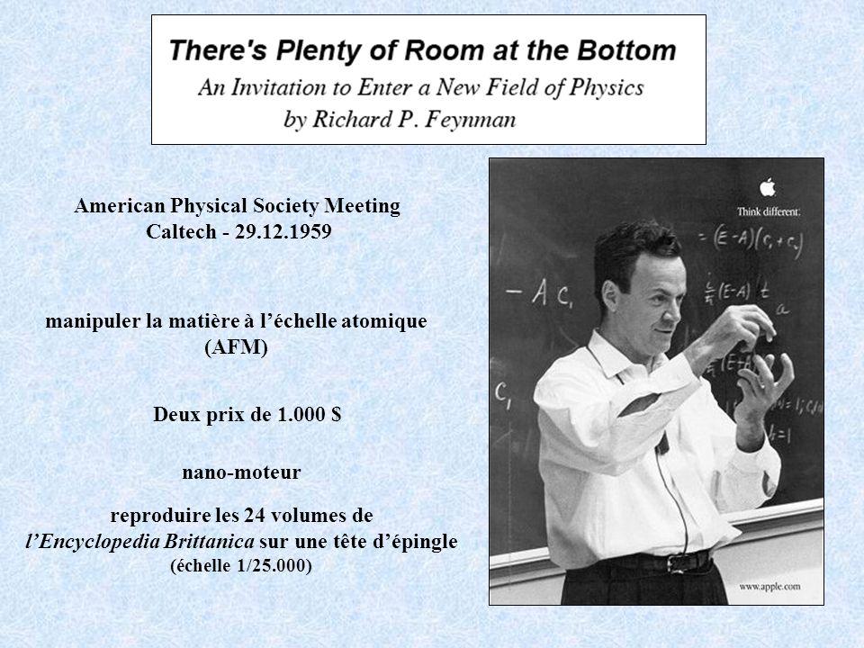 American Physical Society Meeting Caltech - 29.12.1959 manipuler la matière à léchelle atomique (AFM) reproduire les 24 volumes de lEncyclopedia Britt
