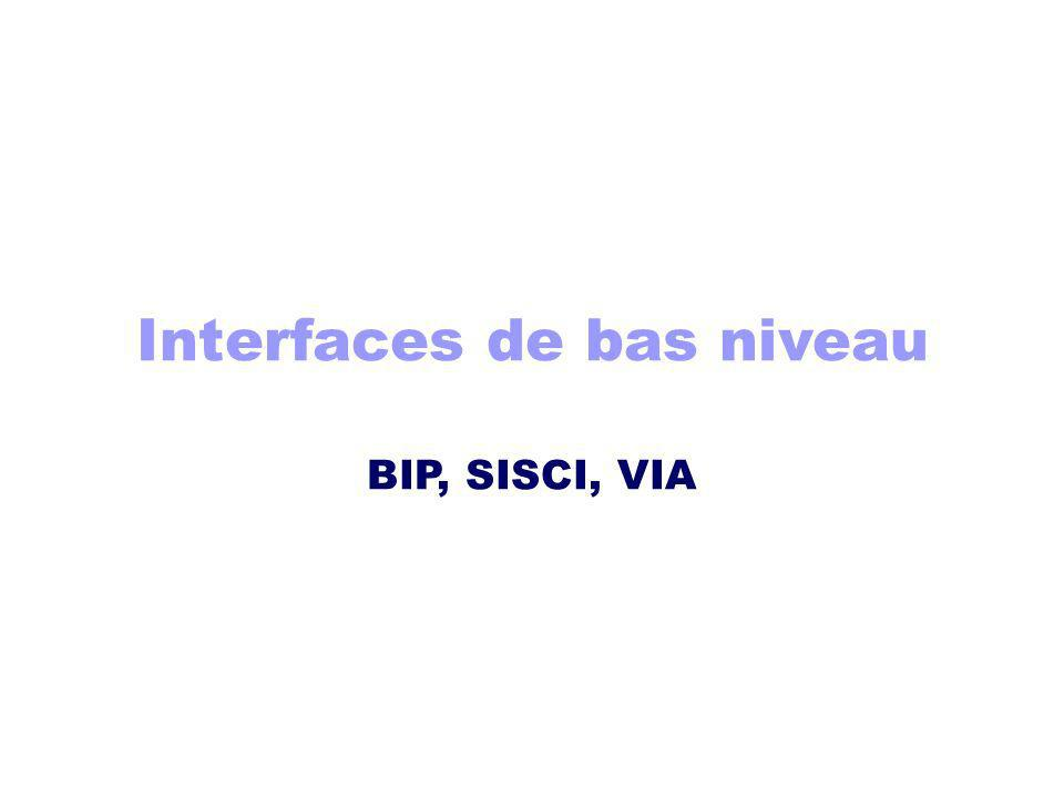 Interfaces de bas niveau BIP, SISCI, VIA