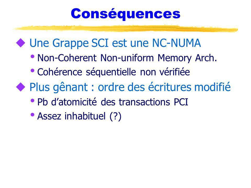 Conséquences u Une Grappe SCI est une NC-NUMA Non-Coherent Non-uniform Memory Arch. Cohérence séquentielle non vérifiée u Plus gênant : ordre des écri