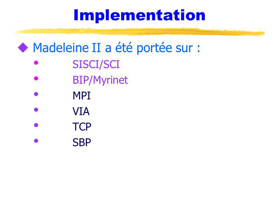 Implementation u Madeleine II a été portée sur : SISCI/SCI BIP/Myrinet MPI VIA TCP SBP