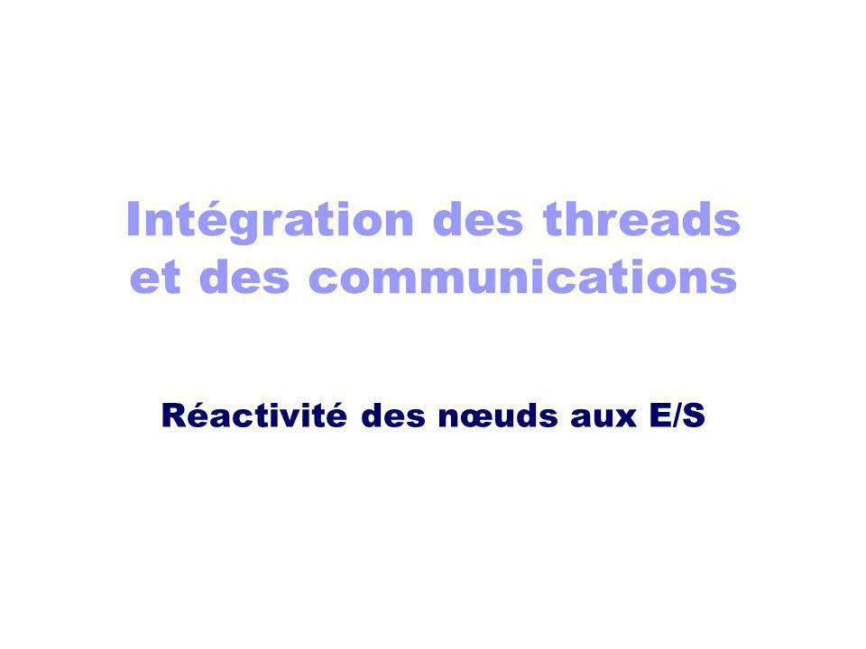 Intégration des threads et des communications Réactivité des nœuds aux E/S