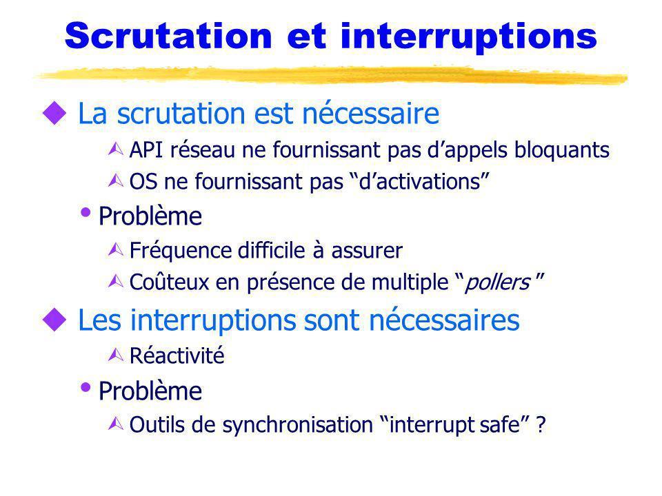 Scrutation et interruptions u La scrutation est nécessaire Ù API réseau ne fournissant pas dappels bloquants Ù OS ne fournissant pas dactivations Prob