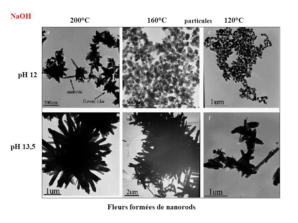 NaOH 200°C160°C120°C pH 13,5 pH 12 particules Fleurs formées de nanorods