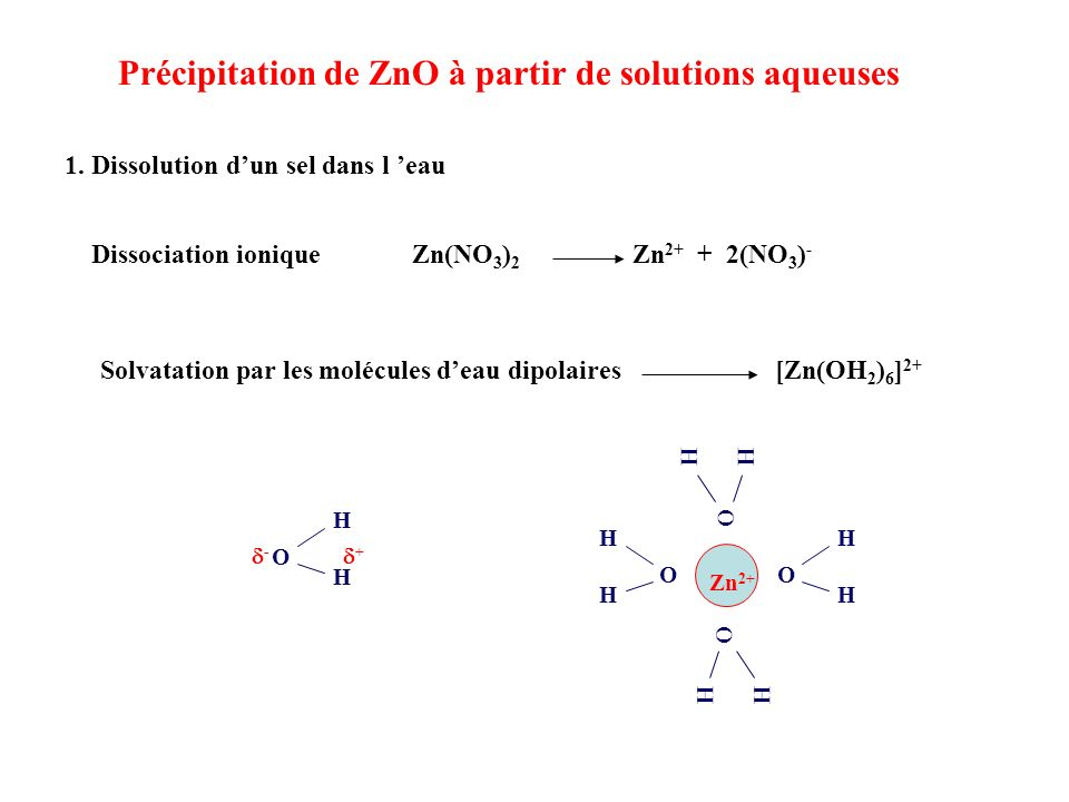 1. Dissolution dun sel dans l eau Dissociation ioniqueZn(NO 3 ) 2 Zn 2+ + 2(NO 3 ) - Solvatation par les molécules deau dipolaires [Zn(OH 2 ) 6 ] 2+ O