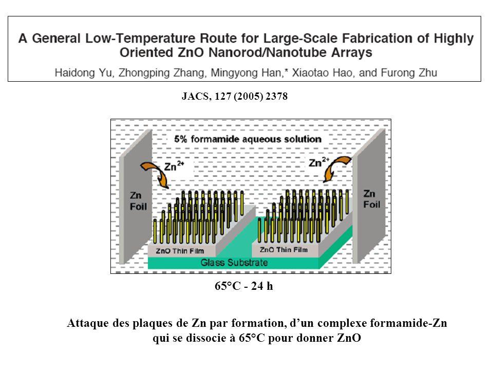 Attaque des plaques de Zn par formation, dun complexe formamide-Zn qui se dissocie à 65°C pour donner ZnO 65°C - 24 h JACS, 127 (2005) 2378