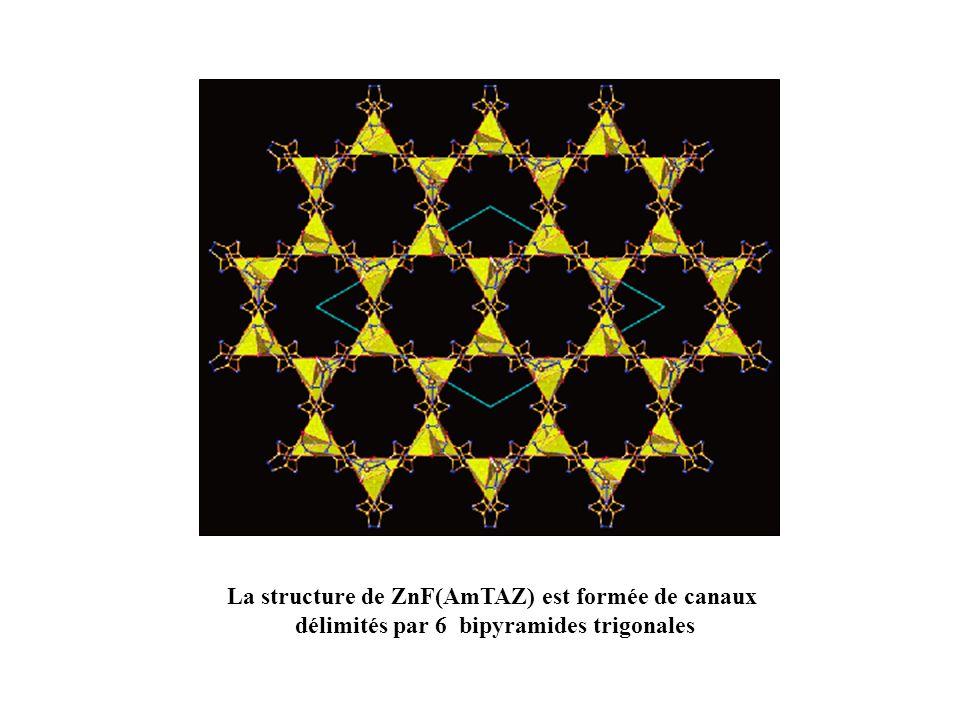 La structure de ZnF(AmTAZ) est formée de canaux délimités par 6 bipyramides trigonales