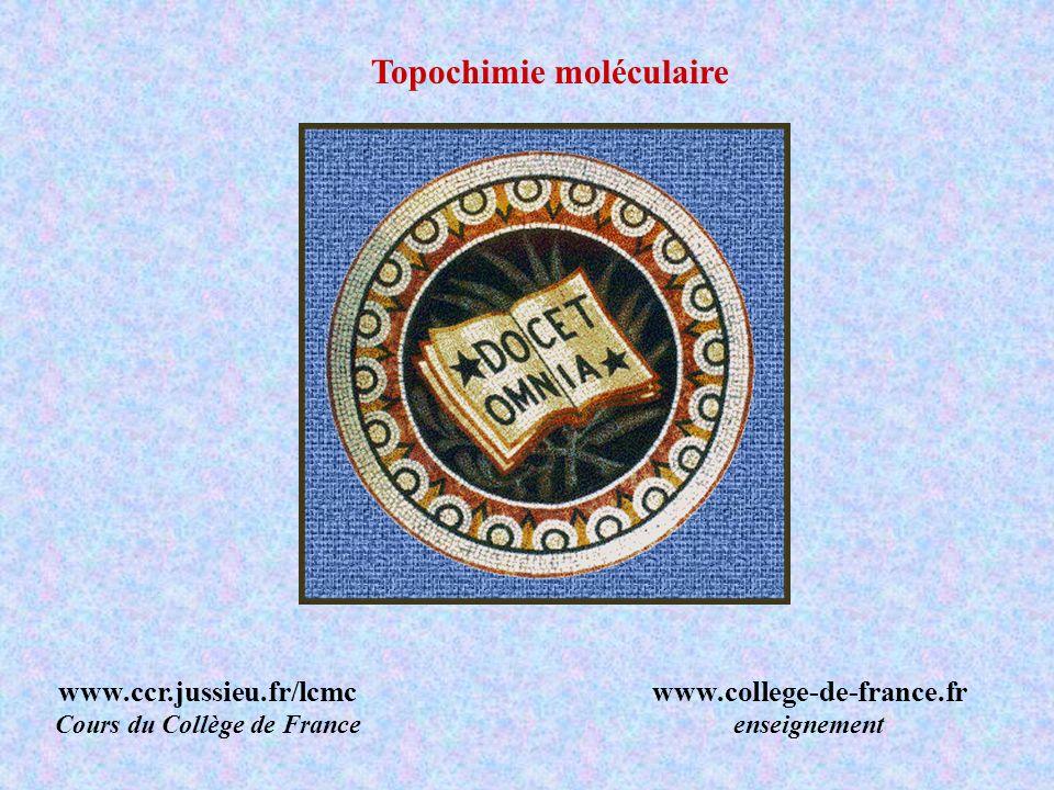 Topochimie moléculaire www.ccr.jussieu.fr/lcmc Cours du Collège de France www.college-de-france.fr enseignement