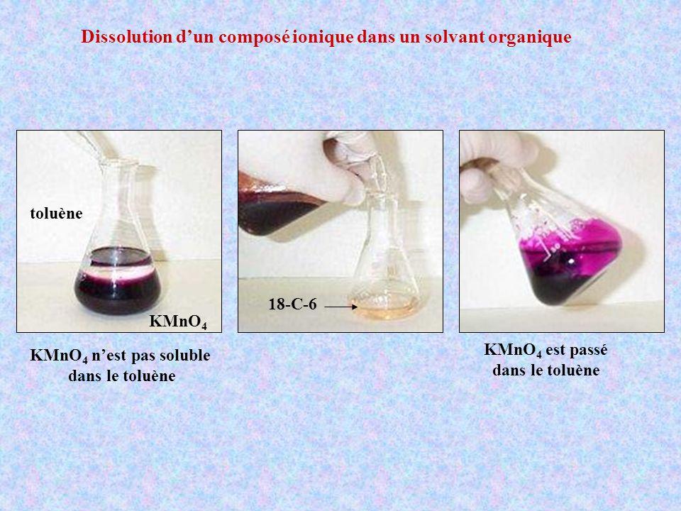 Dissolution dun composé ionique dans un solvant organique KMnO 4 toluène KMnO 4 nest pas soluble dans le toluène KMnO 4 est passé dans le toluène 18-C
