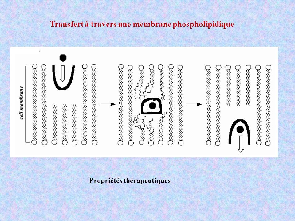 Transfert à travers une membrane phospholipidique Propriétés thérapeutiques