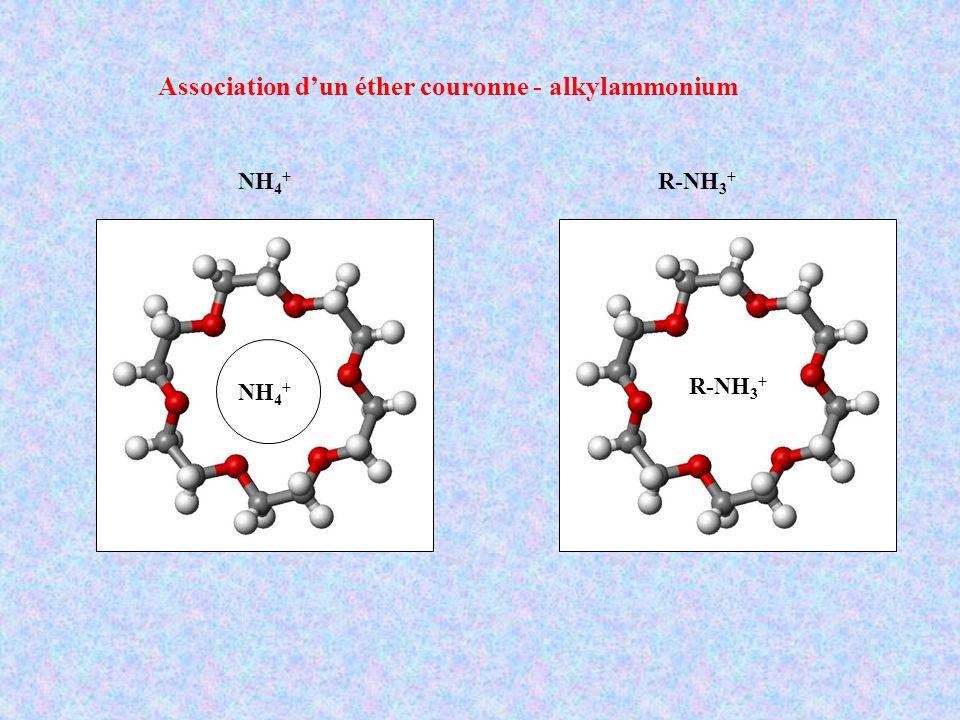 Association dun éther couronne - alkylammonium NH 4 + R-NH 3 + NH 4 +