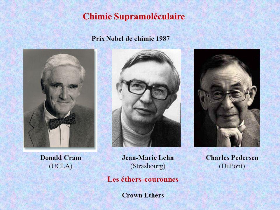 Les éthers-couronnes Prix Nobel de chimie 1987 Crown Ethers Donald Cram (UCLA) Charles Pedersen (DuPont) Jean-Marie Lehn (Strasbourg) Chimie Supramolé