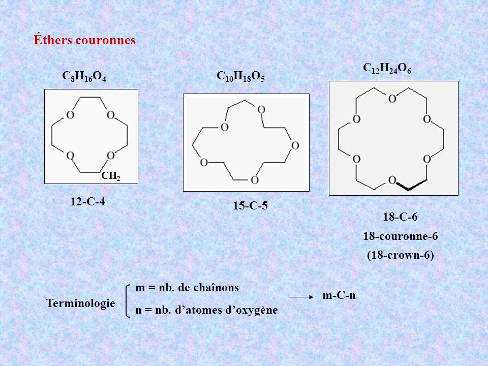Éthers couronnes 12-C-4 15-C-5 18-C-6 18-couronne-6 (18-crown-6) m = nb. de chaînons n = nb. datomes doxygène m-C-n Terminologie C 12 H 24 O 6 C 8 H 1