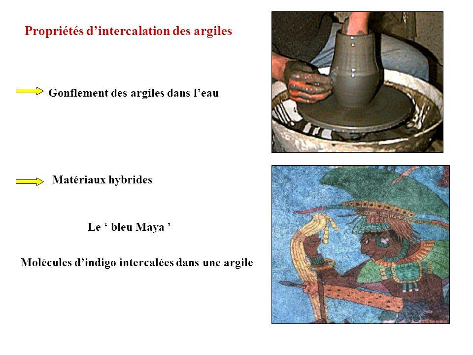 Gonflement des argiles dans leau Propriétés dintercalation des argiles Le bleu Maya Molécules dindigo intercalées dans une argile Matériaux hybrides