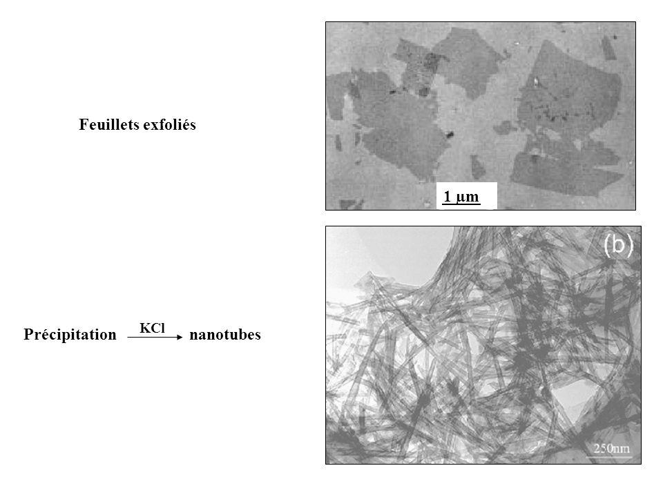 Précipitation nanotubes KCl 1 µm Feuillets exfoliés