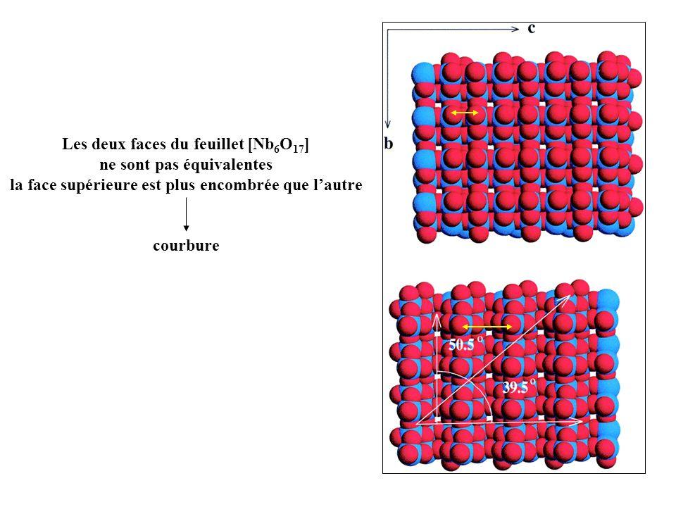 Les deux faces du feuillet [Nb 6 O 17 ] ne sont pas équivalentes la face supérieure est plus encombrée que lautre courbure
