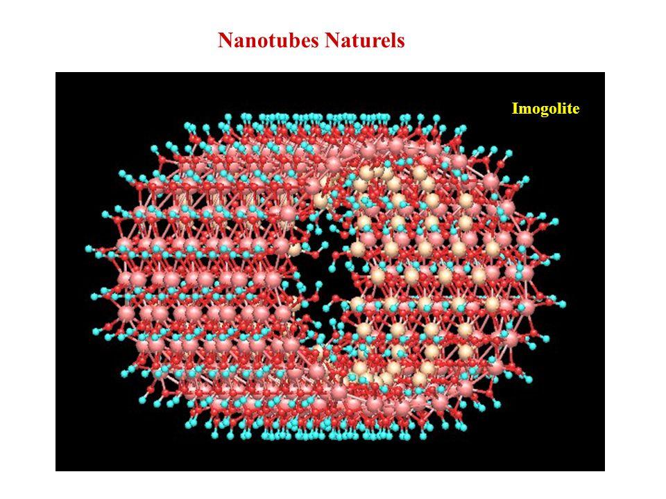 nanotube mono-parois Structure des murs = gibbsite Al(OH) 3 Imogolite : Al 2 O 3 Si(OH) 4 1,5 nm 2,2 nm
