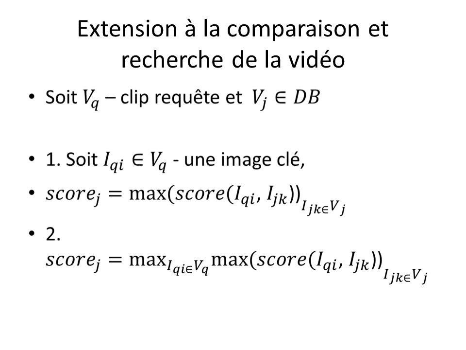 Extension à la comparaison et recherche de la vidéo