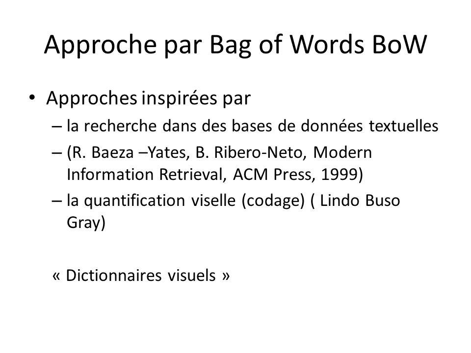 Approche par Bag of Words BoW Approches inspirées par – la recherche dans des bases de données textuelles – (R. Baeza –Yates, B. Ribero-Neto, Modern I