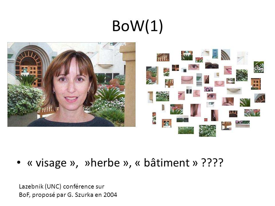 BoW(1) « visage », »herbe », « bâtiment » ???? Lazebnik (UNC) conférence sur BoF, proposé par G. Szurka en 2004