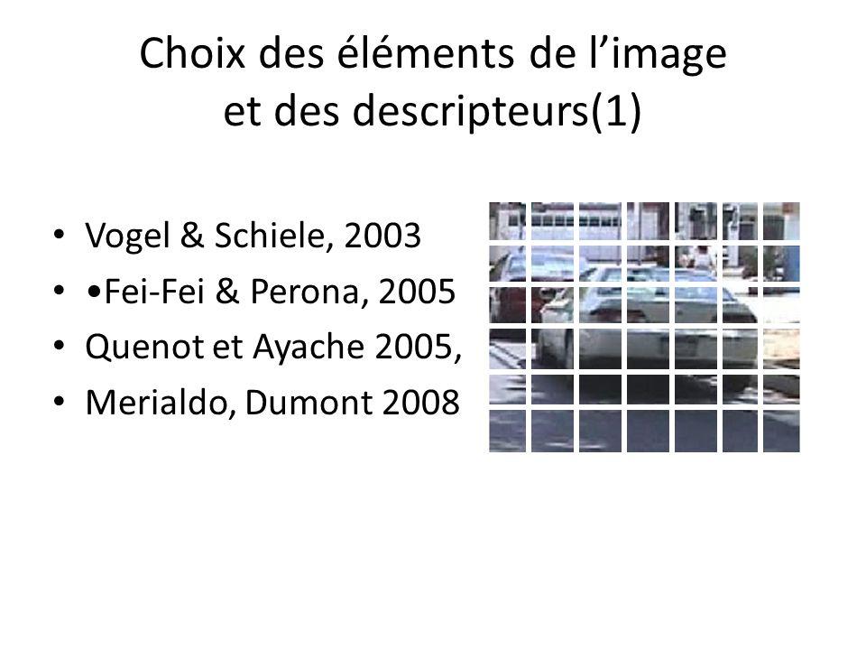 Choix des éléments de limage et des descripteurs(1) Vogel & Schiele, 2003 Fei-Fei & Perona, 2005 Quenot et Ayache 2005, Merialdo, Dumont 2008