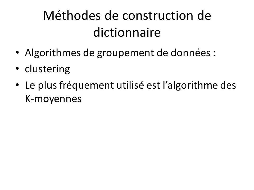 Méthodes de construction de dictionnaire Algorithmes de groupement de données : clustering Le plus fréquement utilisé est lalgorithme des K-moyennes