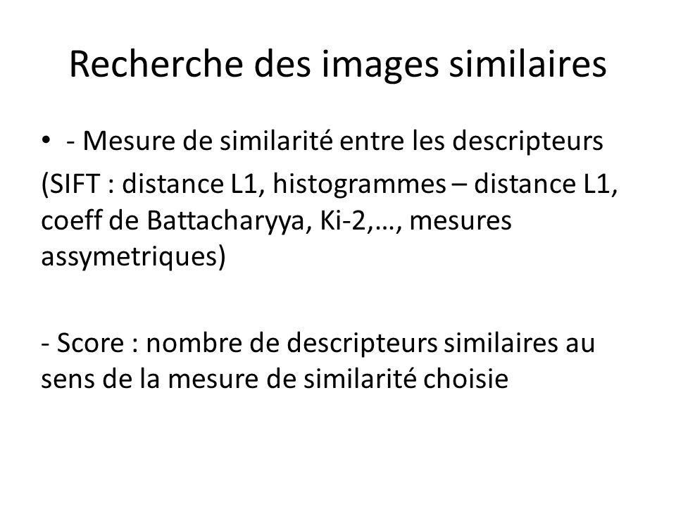 Recherche des images similaires - Mesure de similarité entre les descripteurs (SIFT : distance L1, histogrammes – distance L1, coeff de Battacharyya,