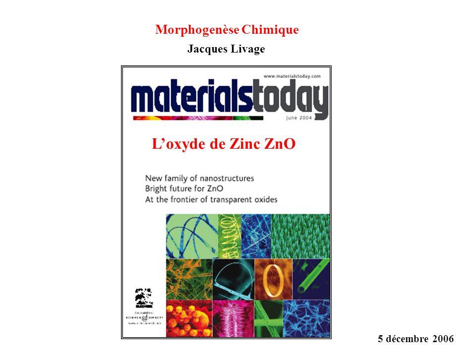Loxyde de Zinc ZnO 5 décembre 2006 Morphogenèse Chimique Jacques Livage