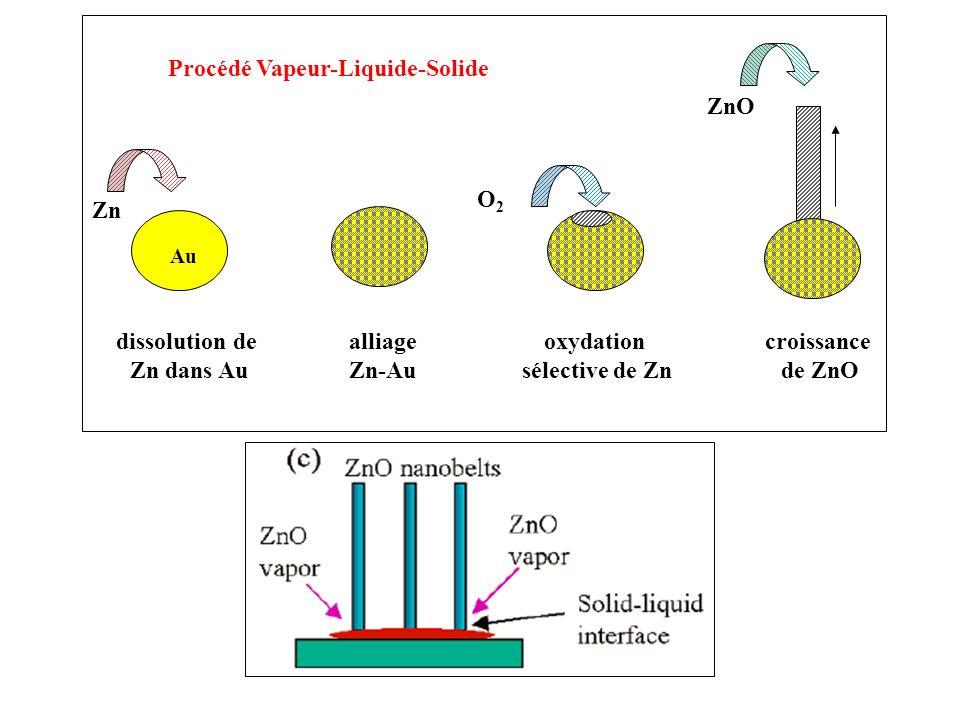 dissolution de Zn dans Au alliage Zn-Au oxydation sélective de Zn Zn Au O2O2 croissance de ZnO ZnO Procédé Vapeur-Liquide-Solide