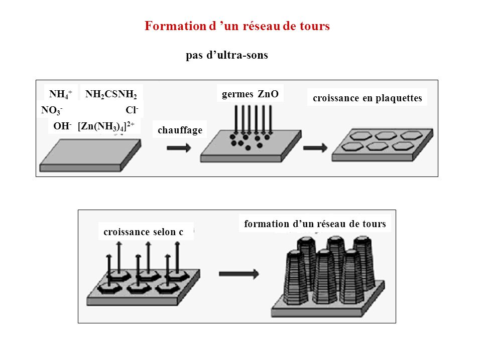Formation d un réseau de tours NH 4 + NO 3 - Cl - OH - [Zn(NH 3 ) 4 ] 2+ NH 2 CSNH 2 chauffage germes ZnO croissance en plaquettes croissance selon c
