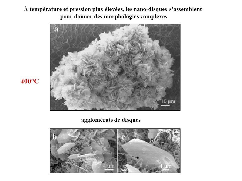 À température et pression plus élevées, les nano-disques sassemblent pour donner des morphologies complexes agglomérats de disques 400°C