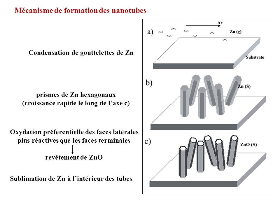Mécanisme de formation des nanotubes Condensation de gouttelettes de Zn prismes de Zn hexagonaux (croissance rapide le long de laxe c) Oxydation préfé