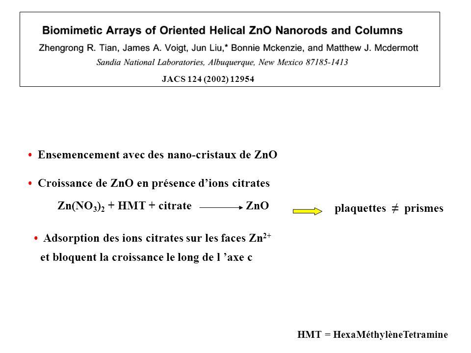 JACS 124 (2002) 12954 HMT = HexaMéthylèneTetramine plaquettes prismes Croissance de ZnO en présence dions citrates Ensemencement avec des nano-cristau