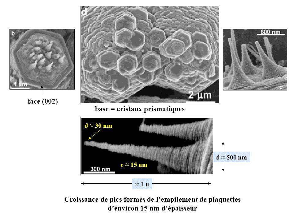 base = cristaux prismatiques face (002) Croissance de pics formés de lempilement de plaquettes denviron 15 nm dépaisseur 1 µ d 500 nm d 30 nm e 15 nm