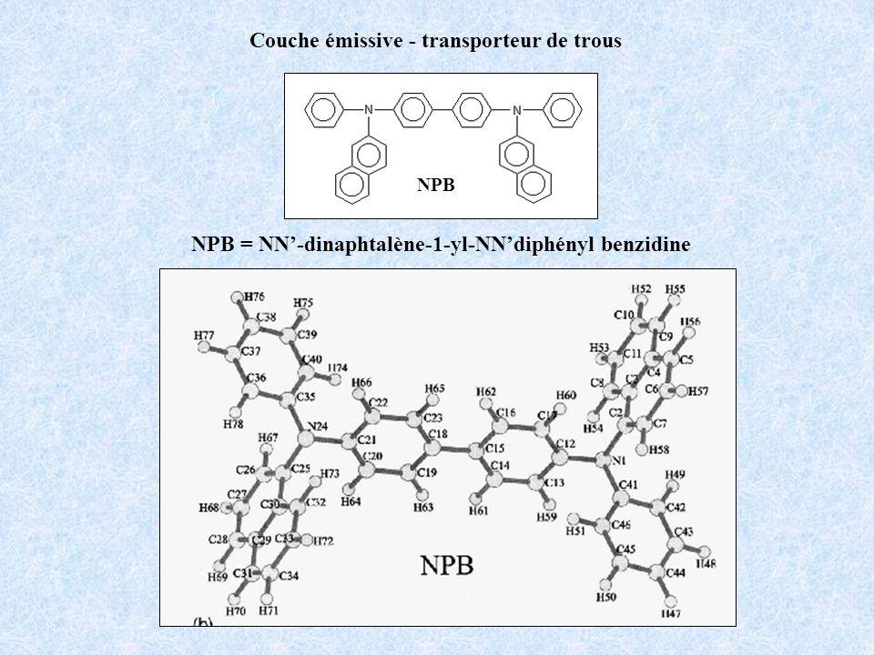 NPB Couche émissive - transporteur de trous NPB = NN-dinaphtalène-1-yl-NNdiphényl benzidine