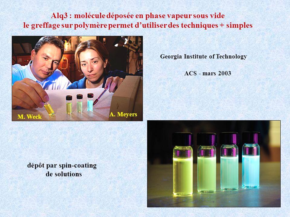 Alq3 : molécule déposée en phase vapeur sous vide le greffage sur polymère permet dutiliser des techniques + simples dépôt par spin-coating de solutio