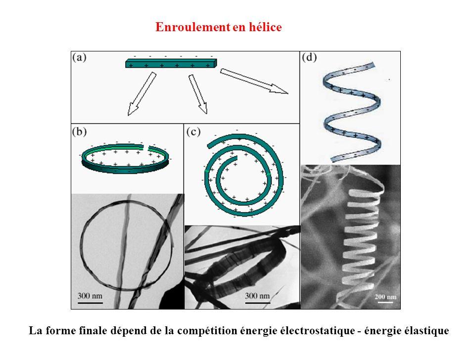 La forme finale dépend de la compétition énergie électrostatique - énergie élastique Enroulement en hélice