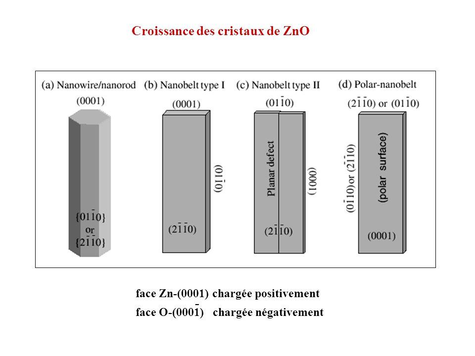 Croissance des cristaux de ZnO face Zn-(0001) chargée positivement face O-(0001) chargée négativement -