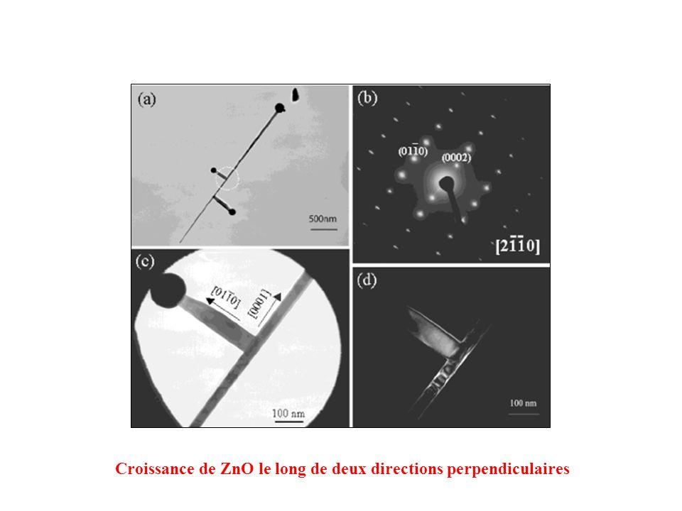 Croissance de ZnO le long de deux directions perpendiculaires